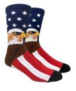 Mens Novelty Socks American Bald Eagle Stars Stripes Fine Fit USA - NWT - $4.94