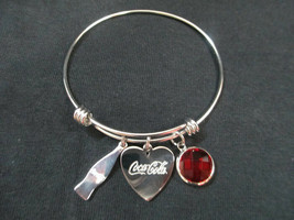 Coca-Cola Sterling Silver Charm Bangle with Bottle, Heart, and Disc Charms - $19.55
