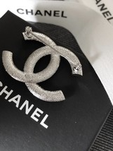 AUTHENTIC CHANEL Baguette Crystal Large CC Silver Brooch Pin MINT image 3