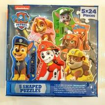 PAW PATROL Jigsaw Puzzle Set 5 x 24 pc Cardinal 2016 Shaped Dogs Chase Skye Zuma - $14.85