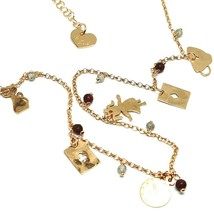 Necklace 70 cm, Silver 925 Agate Red, Cards Rabbit Watch Mug, le Favole image 2