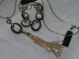 Estate Demi Cache Black Rhinestone Open Goldtone Ovals Bracelet Goldtone... - $37.29