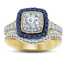 14k Yellow Gold Finish 925 Sterling Solid Silver Diamond Wedding Bridal ... - $98.99