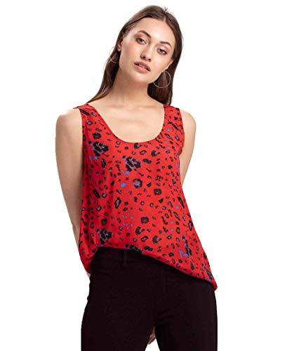 Benares Red Womens Tank Top - Sleeveless, Viscose Floral Print Tank Top - X-Smal