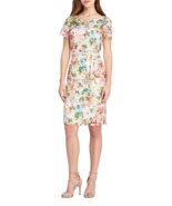 NWT TAHARI ASL BEIGE PINK LACE FLORAL BELTED SHEATH DRESS SIZE 16 $168 - $61.74