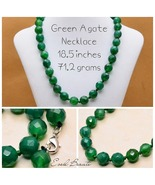 Green 12 MM Agate Gemstone Necklace - New! - $25.00