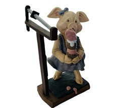 Pig Figurine Anthropomorphic Piggy hog piglet vtg Enesco ice cream scale scoops - $28.98