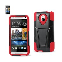 REIKO HTC ONE MINI M4 HYBRID HEAVY DUTY CASE WITH KICKSTAND IN RED BLACK - $9.25