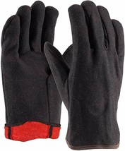 12 Pairs Red Fleece Lined Brown Jersey Red Fleece Gloves 14 oz Men'S Size - $22.99