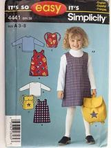 Simplicity 4441 Easy Girl's Jumper, Knit Top & Backpack Pattern - Size 3-8 - $6.81