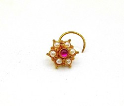 20 K YELLOW GOLD VINTAGE STYLE HANDMADE NOSE PIN WITH NICE 6 TINY PEARLS... - $49.00