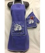 White poodle dog on blue apron, pot holder and oven mitt - $34.99
