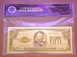 24K .999 Gold 1928 $50 Dollar Gold Cert Banknote with COA (Cert of Authe... - $5.93