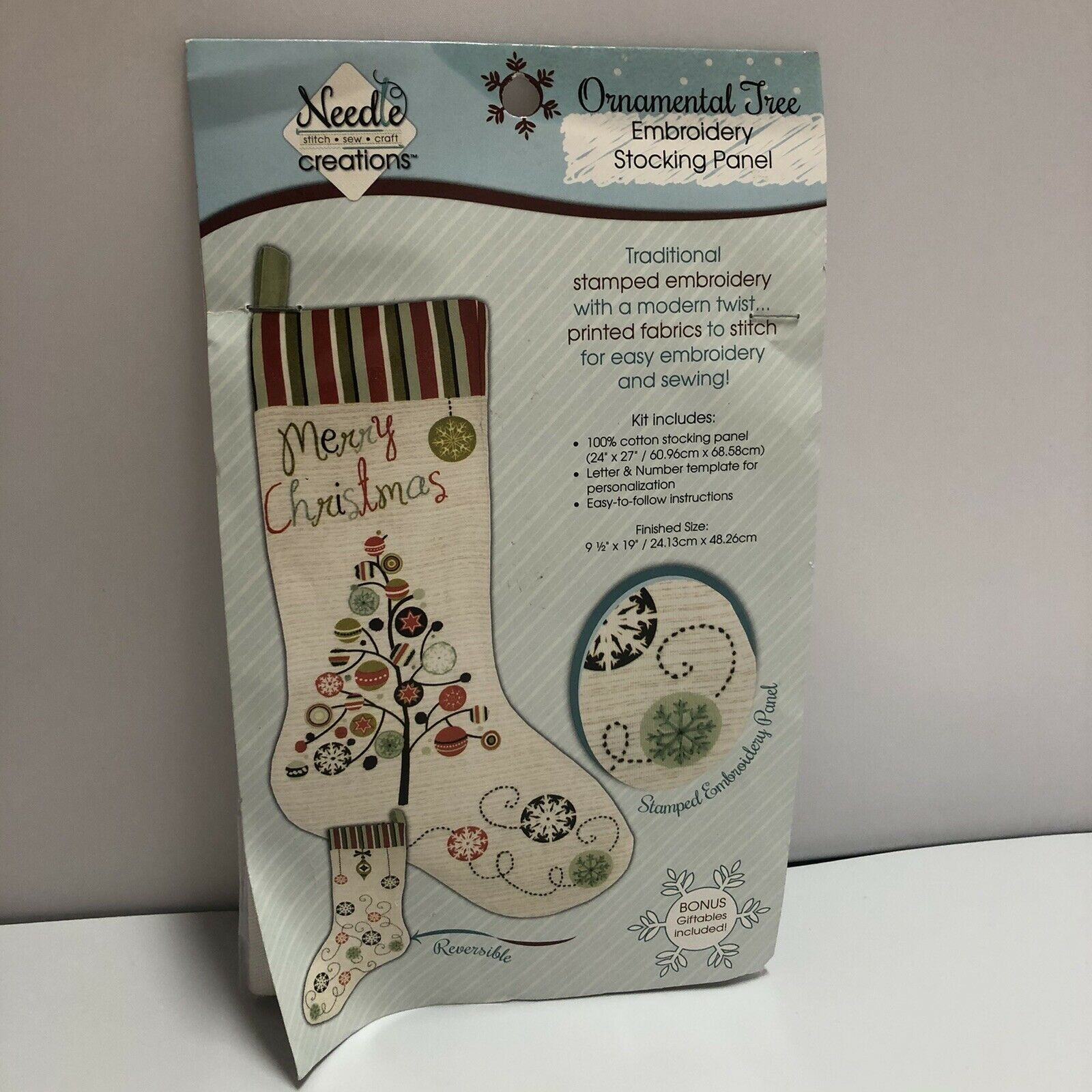 Needle Creations Embroidery Stocking Panel Ornamental Tree Reversible New - $9.89