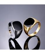 Elegant Temperament Solid Polished Copper Band Biker Men Signet Ring Bla... - $9.61
