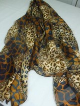 Large Head Neck Scarf Animal Print Brown Black Beige Semi Sheer Silk Fee... - $14.75