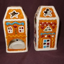 Pair Gingerbread House Tea Light Candle Holder Christmas Holiday Ganz Te... - $17.99