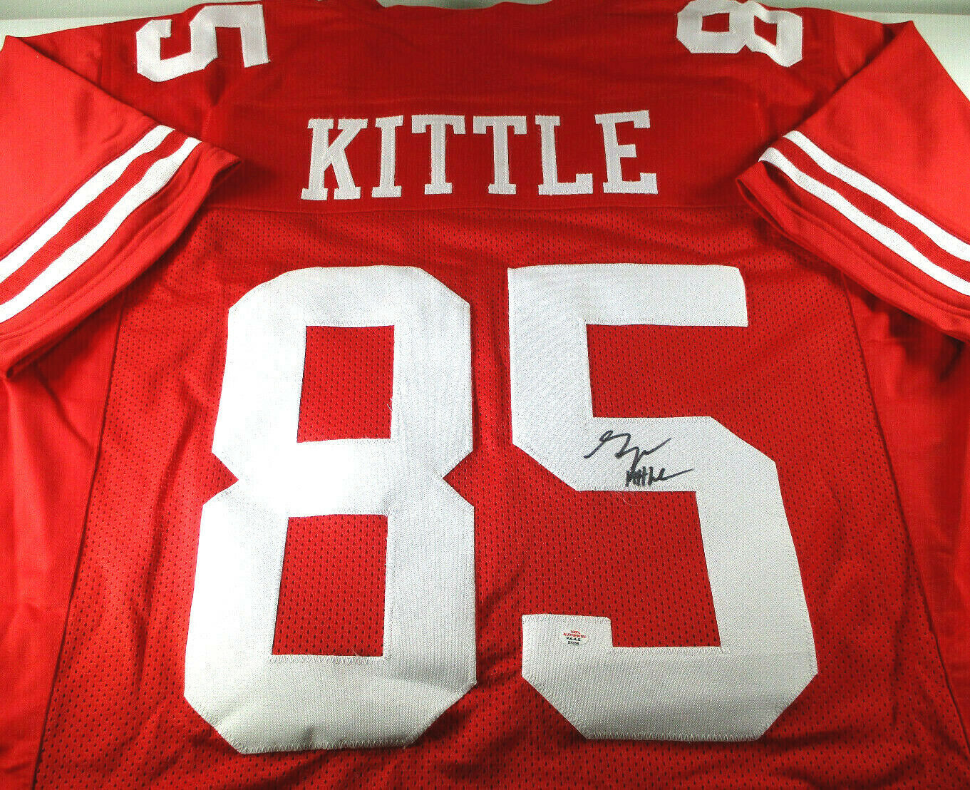 GEORGE KITTLE / SAN FRANCISCO 49ERS / AUTOGRAPHED 49ERS RED CUSTOM JERSEY / COA