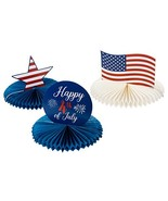 Patriotic Party Decoration - 3-Piece 4th of July Honeycomb Decoration Ce... - $9.93