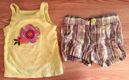 Girl's Size 12 M Months Two Piece Carter's Green Floral Tank & Plaid Sho... - $15.00