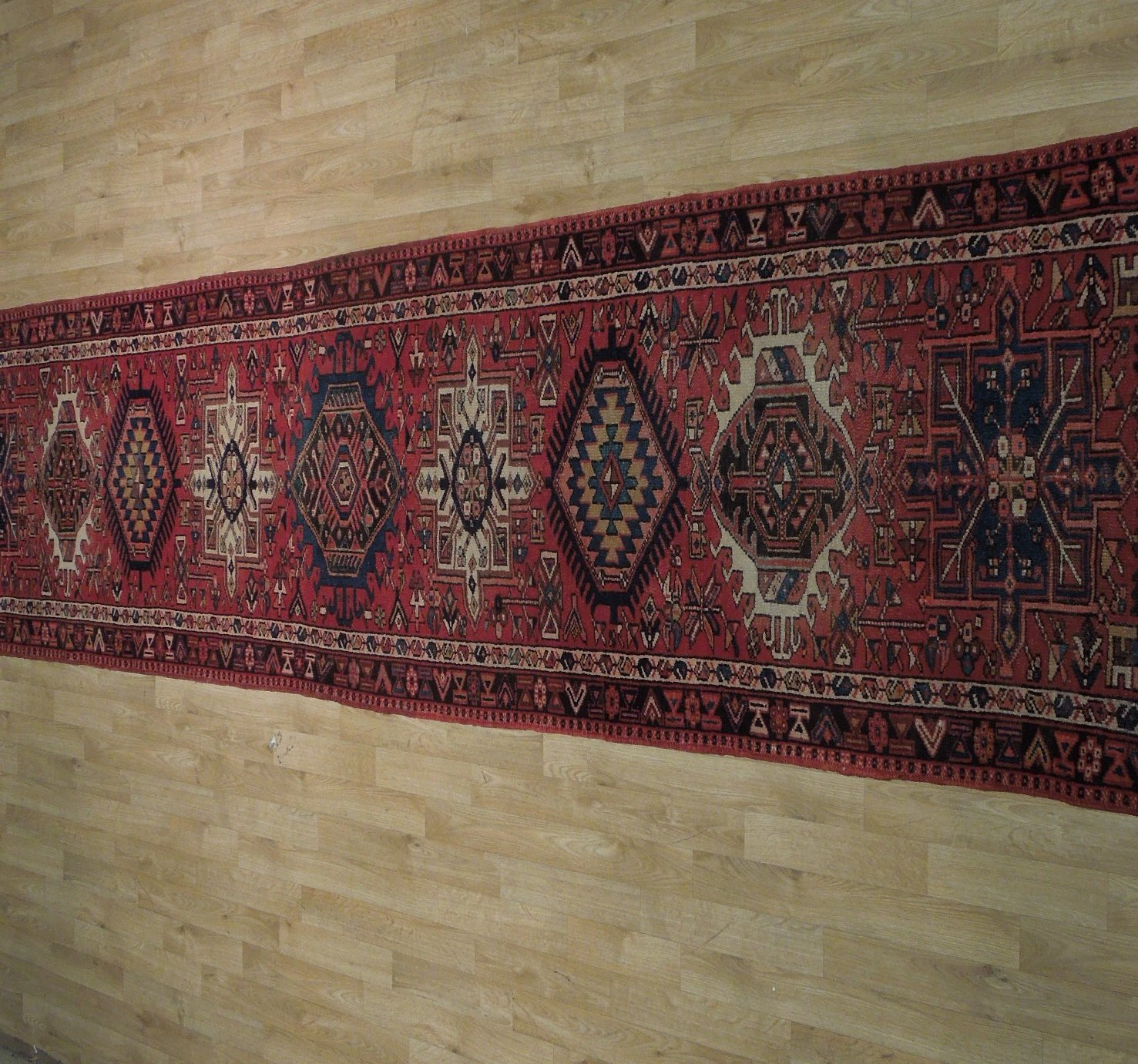 Red 3 x 13 All-Over Classic Tribal Design Runner Karaja Persian Handmade Rug image 10