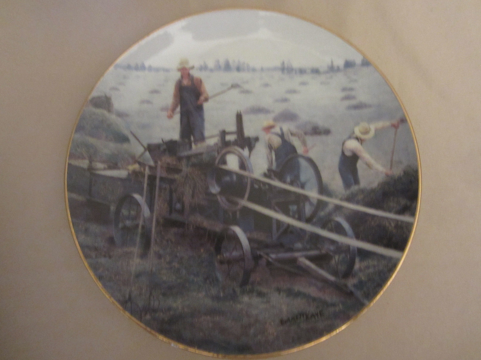 Primary image for BALING HAY collector plate EMMETT KAYE Farming the Heartland STEAM ENGINE