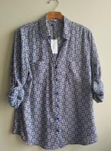EXPRESS Women's Convertible Sleeve Portofino Shirt White Multi Geo Print L/G NWT - $51.21