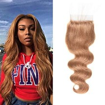WOME Real Brazilian Virgin Hair Body Wave Weaves Lace Closure Honey Blonde Color
