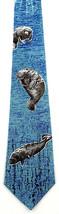Sea Cows Men's Neck Tie Manatee Marinee Mammals Animal Novelty Blue Necktie - $13.51