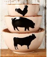 Serving Bowls Set of 3 Farm Country Barnyard Decor Kitchen Cookware Mixi... - $24.49