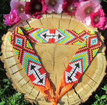 Geometric Ethnic Beaded Belt ~ Boho Chic Hippie Fashion Bright Colors Be... - $40.00