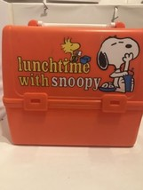 Peanuts Snoopy Woodstock Plastic Lunchtime School Days Lunch Box Pail - $17.75