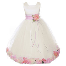 Ivory Satin Bodice Layers Tulle Skirt Baby Pink Flower Ribbon Brooch and Petals - $48.00