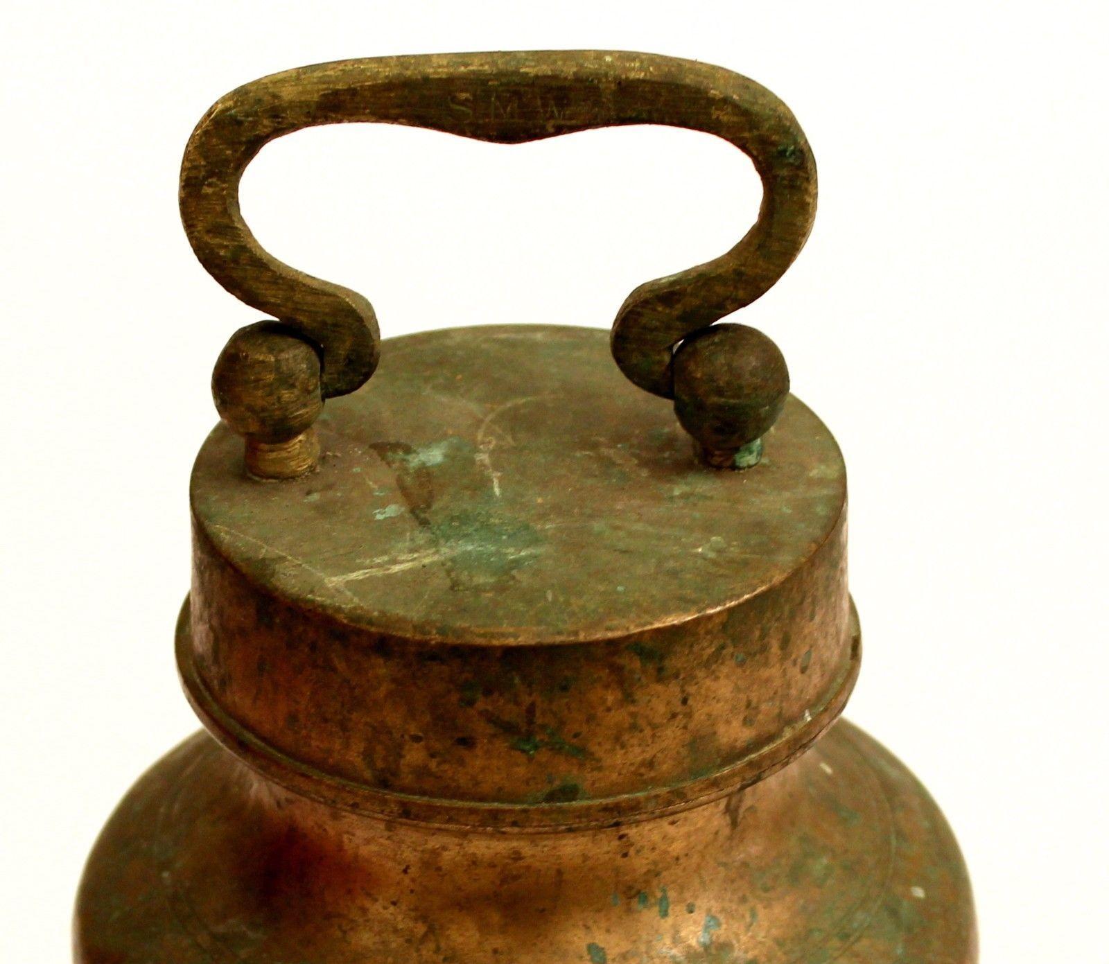 Holy water brass lid pot gangajal storing round handle bellly antique vintage..