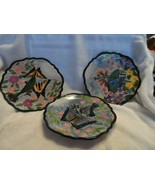 set of 3 ceramic plates with butterfly design stamped W.M.G. - $24.00