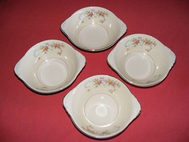 """4 Homer Laughlin Dubarry Lugged 5.5"""" Soup Cereal Bowls Eggshell Nautilus - $29.95"""