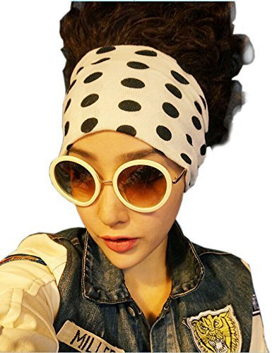 [Black Dots] Fashion Headband Wide Headbands Casual Headwrap Elasticity