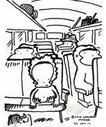 Baby Ape on Bus Ride Alone. Original Signed Cartoon Art by Walter Moore - $9.44