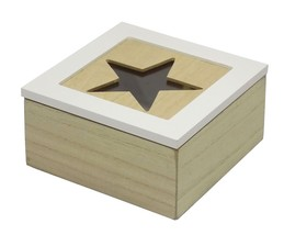 CUT OUT STAR WHITE NATURAL GLASS HINGED STORAGE BOX 16CM X 16CM X 8CM - $19.42