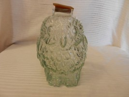 Vintage Clear Embossed Glass Wise Old Owl Piggy Bank With Stopper - $44.54