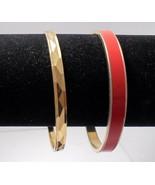 2 Gold Plated Vintage Monet Bangles 1 Red Enamel 1 Diamond Pattern - $14.00