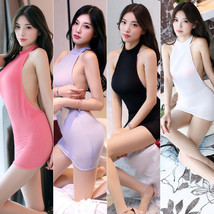 Women Sexy Backless Casual Mini Dress See Transparent bodycon club party Wear - $8.99