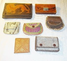 COOL 7 VINTAGE SKIN & LEATHER PURSES DIFFERENT SIZES SHAPES & AGE ALL AM... - $28.97