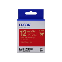 12mm Gold on Red - Epson LABELWORKS LK-4RKK Ribbon Tape Cartridges (Pack... - $82.99