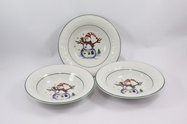 "GEI Snowman Christmas Salad Soup Bowls 7"" Set of 3 - $24.01"