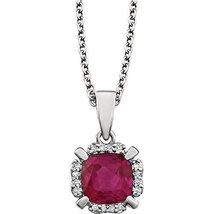 14 Karat White Gold Created Ruby and Natural Diamond Halo Drop Pendant w... - $314.06