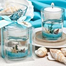 1 Beach Themed Wedding Candle Favor Gel Bridal Shower Favor Ocean Reef Tea Light - $3.78