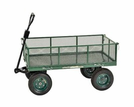 Utility Garden Cart Yard Wagon Heavy Duty Steel Metal Folding Removable ... - $180.58