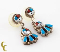 925 Argent Sterling Corail & Turquoise Boucles D'Oreilles Pendantes - $130.83