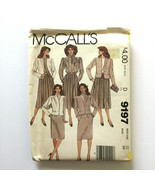 Mccall's 9197 Easy Sewing Pattern Misses Jacket Blouse Skirt Scarf Size 12 - $9.89